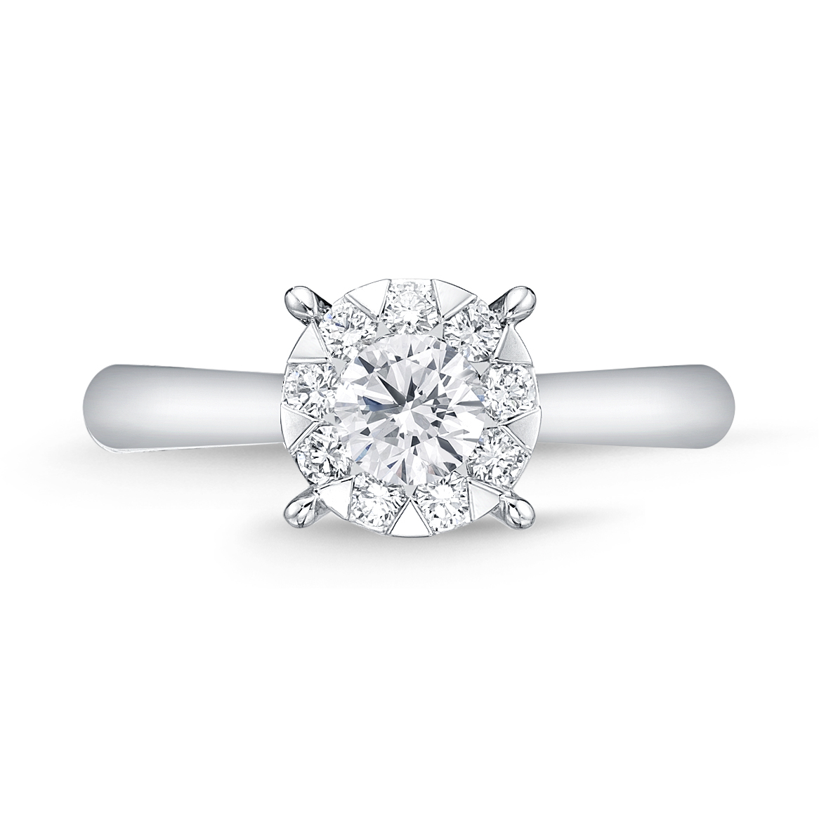 Memoire 18ct White Gold 0.60 Carat Diamond Bouquet Solitaire Ring