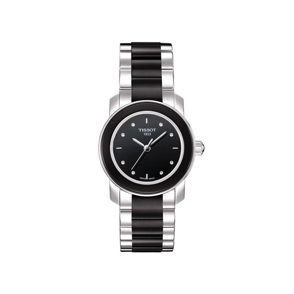 Tissot T-Trend Cera T0642102205600 Black Ceramic Diamond Womens Watch