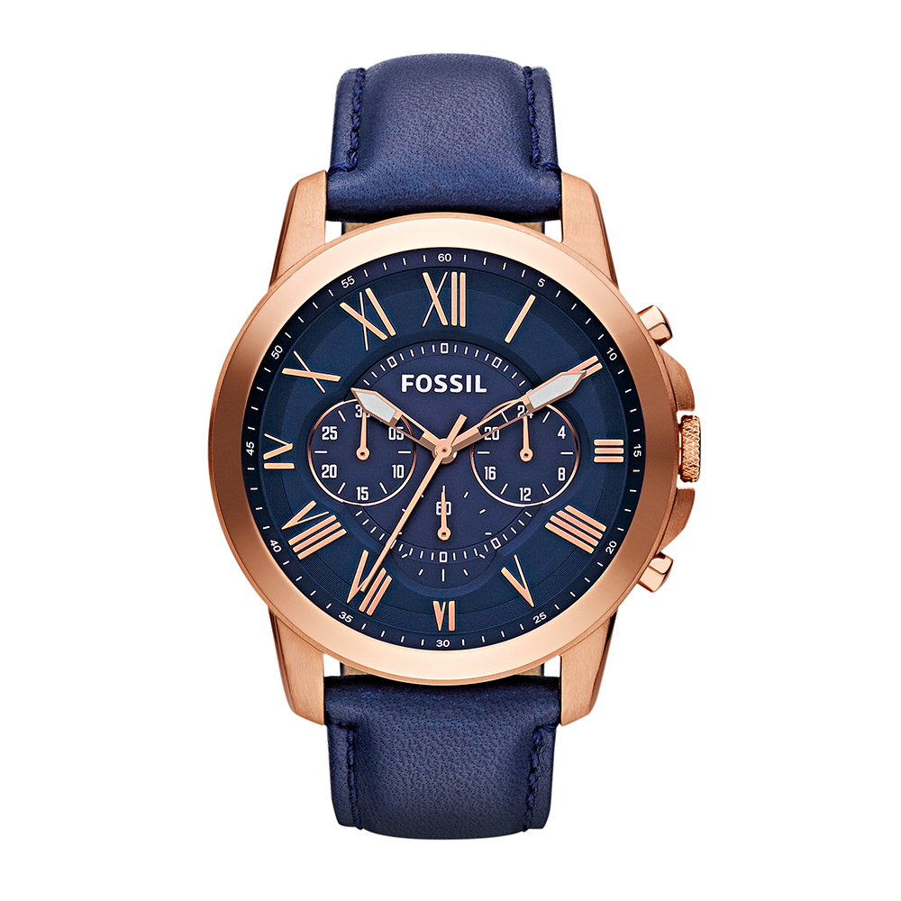 Fossil 'Grant' FS4835 Navy Leather Gents Watch