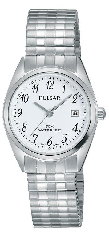 Pulsar PH7443X Silver Tone Stretch Bracelet Womens Watch