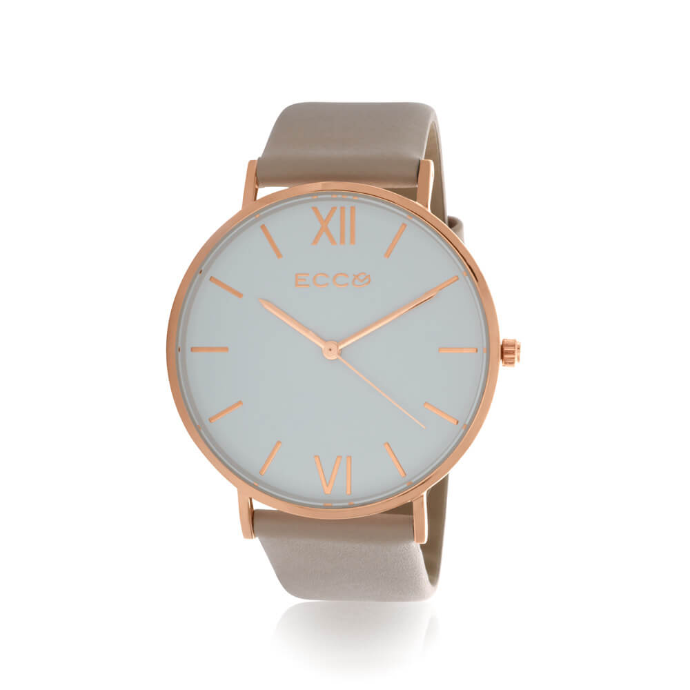 Ellis & Co Collection Rose Gold Tone Nude Strap 41mm Womens Watch