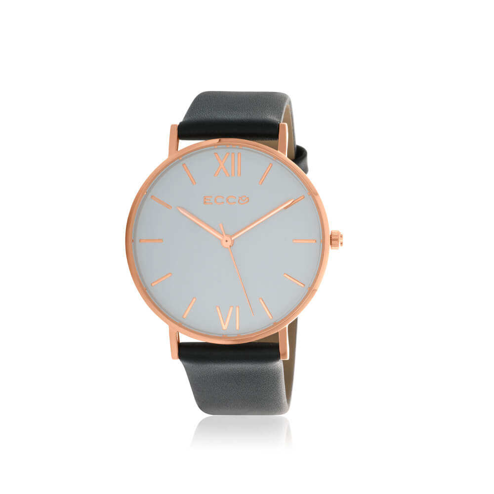 Ellis & Co Collection Rose Gold Tone Black Strap Unisesx Watch