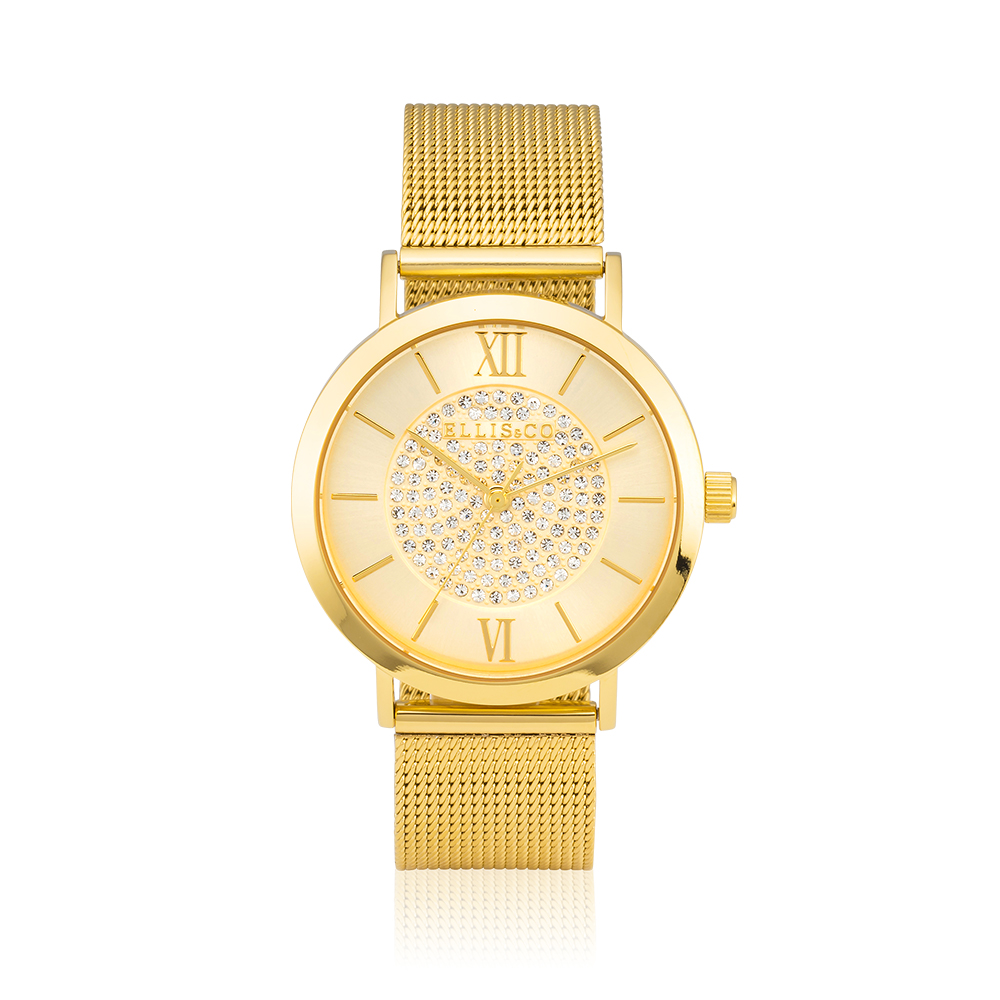 Ellis & Co Stainless Steel Gold Plated Mesh Unisex Watch