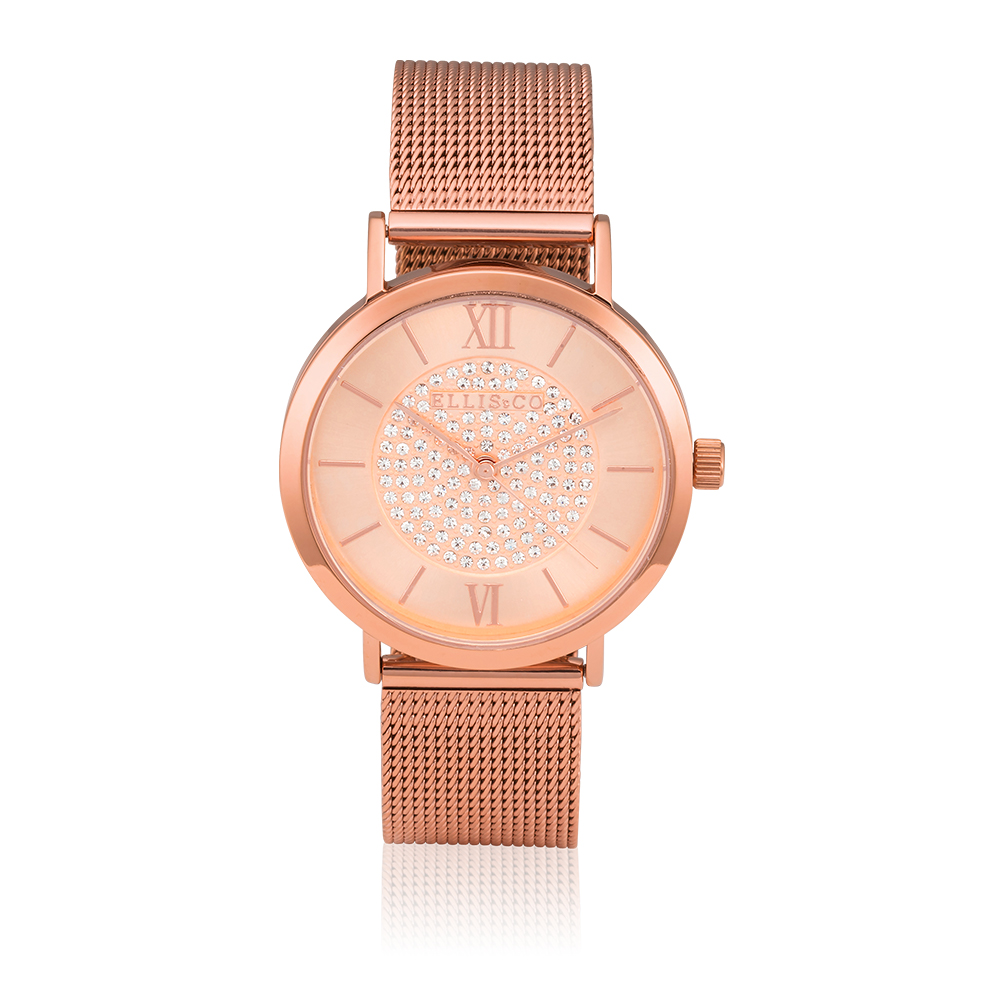 Ellis & Co Stainless Steel Rose Gold Plated Mesh Unisex Watch
