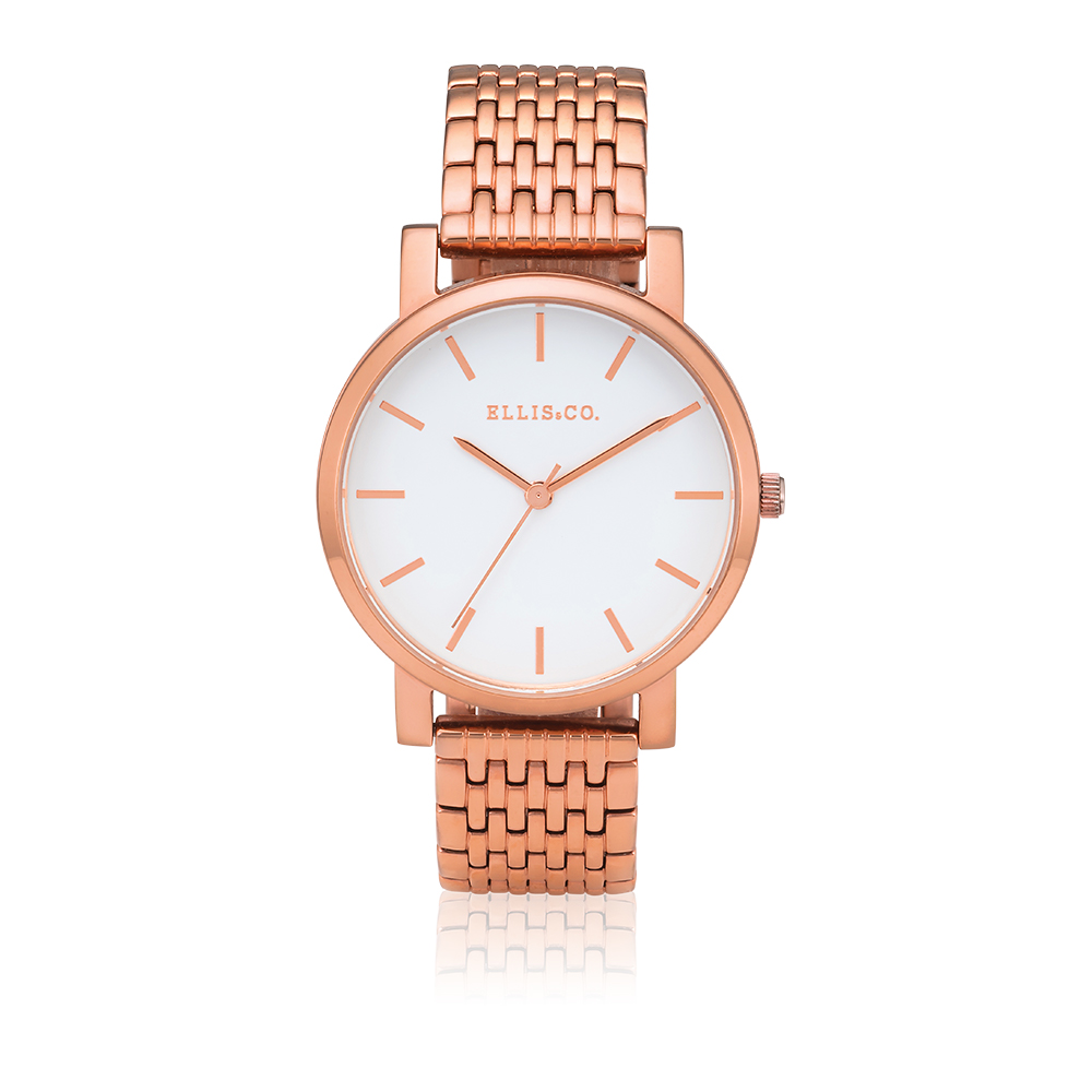 Ellis & Co Stainless Steel Rose Gold Plated Womens Watch