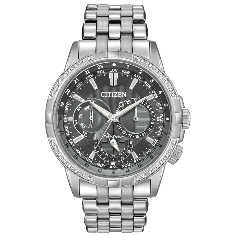 Eco-Drive BU2080-51H Diamond Set Stainless Steel Mens Watch