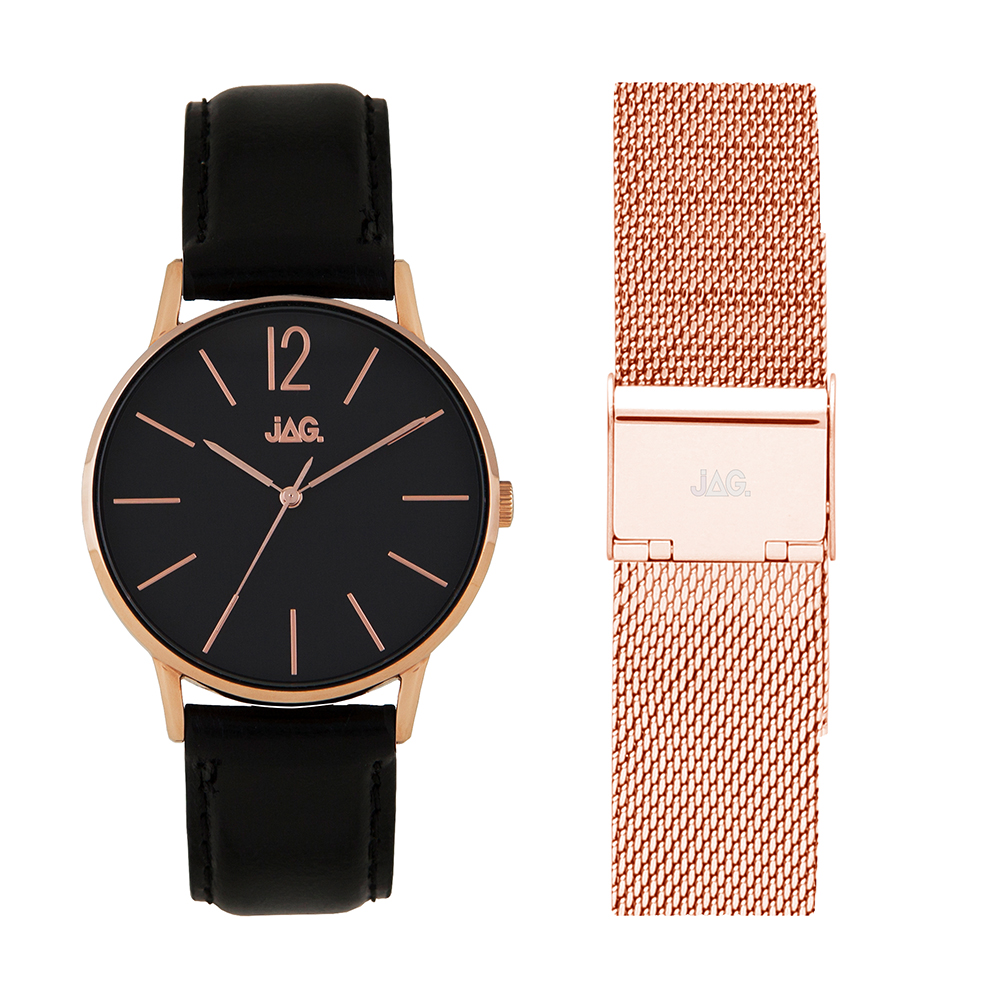 Jag Billy J2183 Black Leather Womens Watch Set