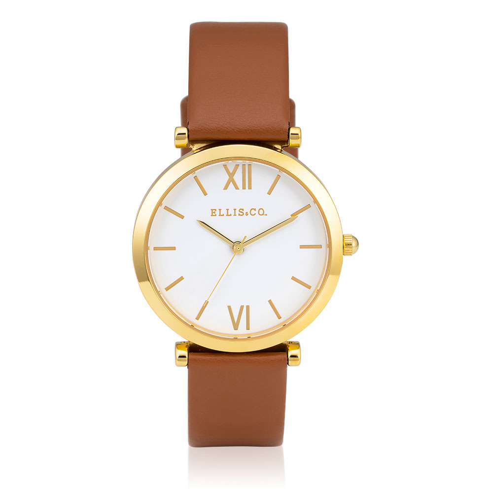 Ellis & Co Collection Stainless Steel Tan Leather Womens Watch