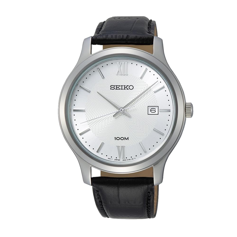 Seiko SUR297P1 Black Leather Mens Watch