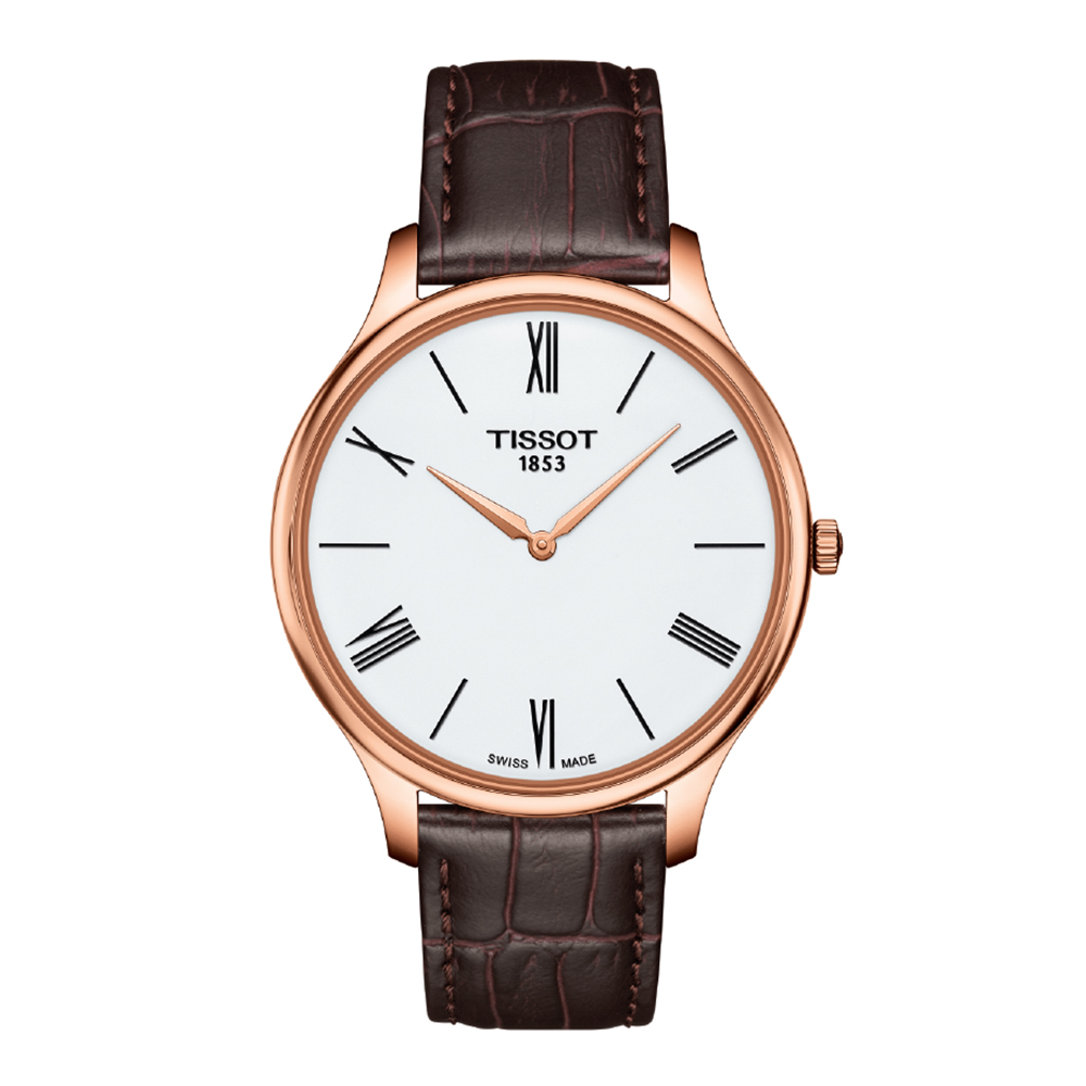 Tissot Tradition T0634093601800 Thin Browrn Leather Mens Watch