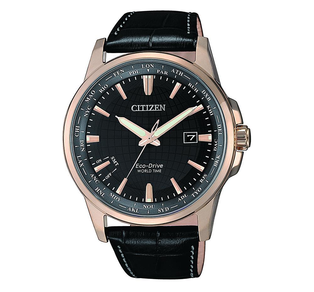 Citizen World Time BX1008-12E Black Leather Mens Watch