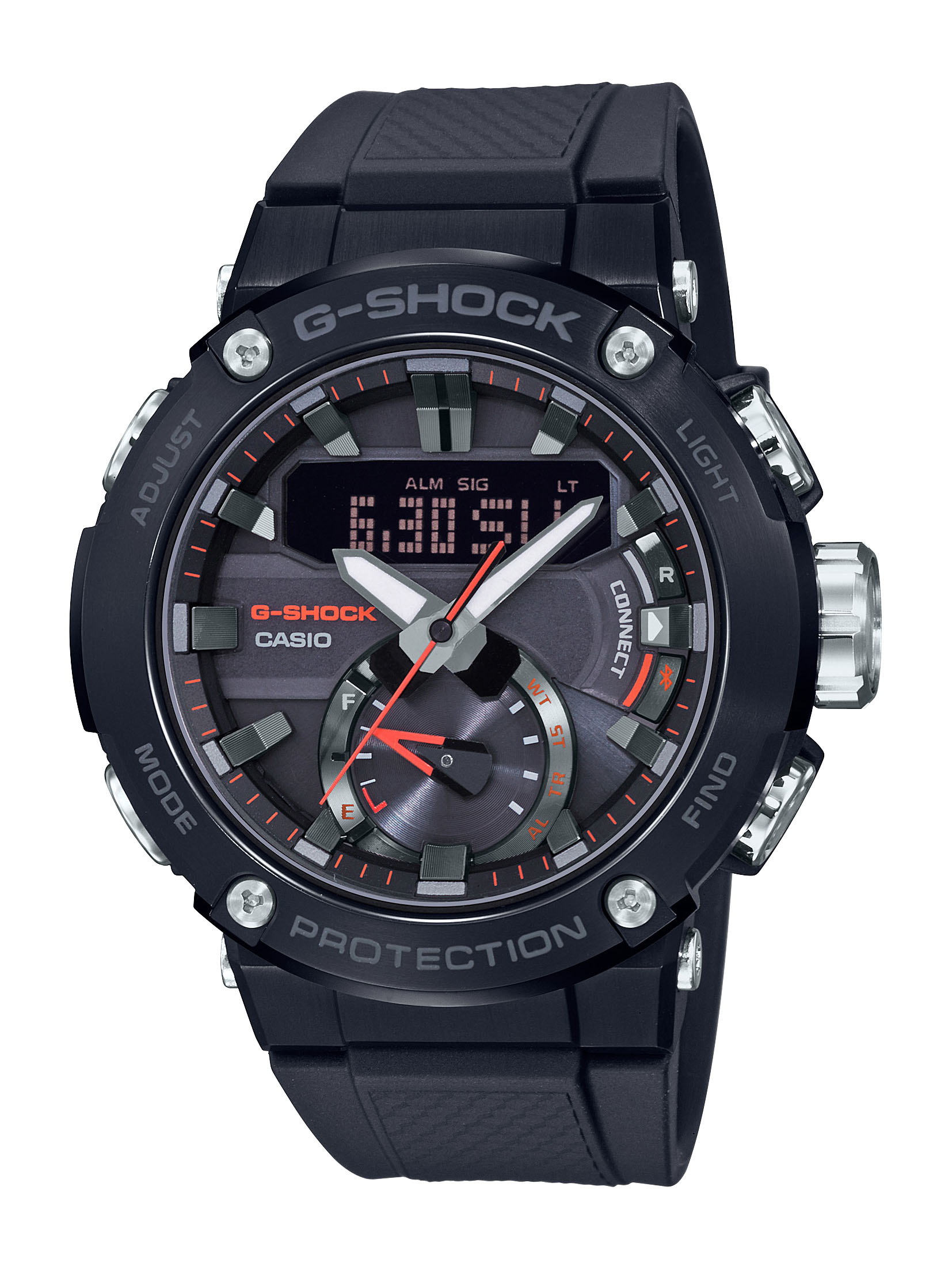G-Steel Carbon GSTB200B-1ADR Black Rubber Mens Watch