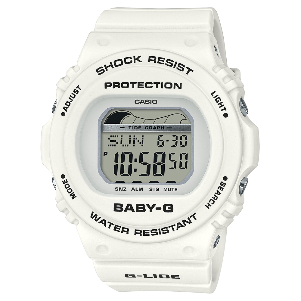 Baby-G BLX-570-7DR White Resin Womens Watch