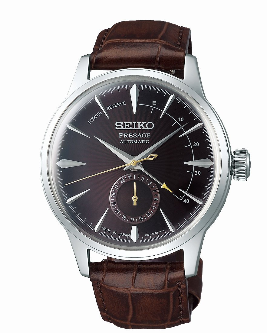 Seiko Presage SSA393J Cocktail Black Cat Martini Brown Leather Mens Watch