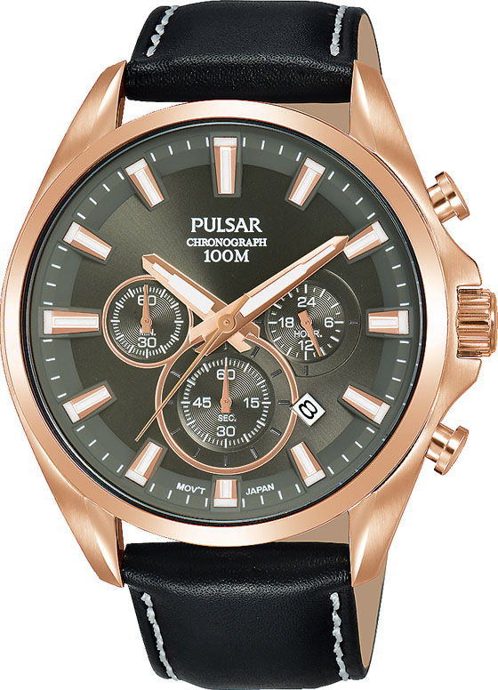 Pulsar Super Cars PT3A28X Black Leather Mens Watch