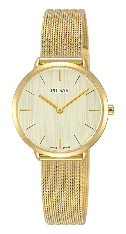 Pulsar PM2284X Gold Stainless Steel Mesh Womens Watch