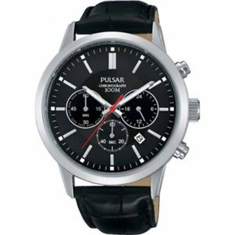 Pulsar PT3751X Black Leather Mens Watch