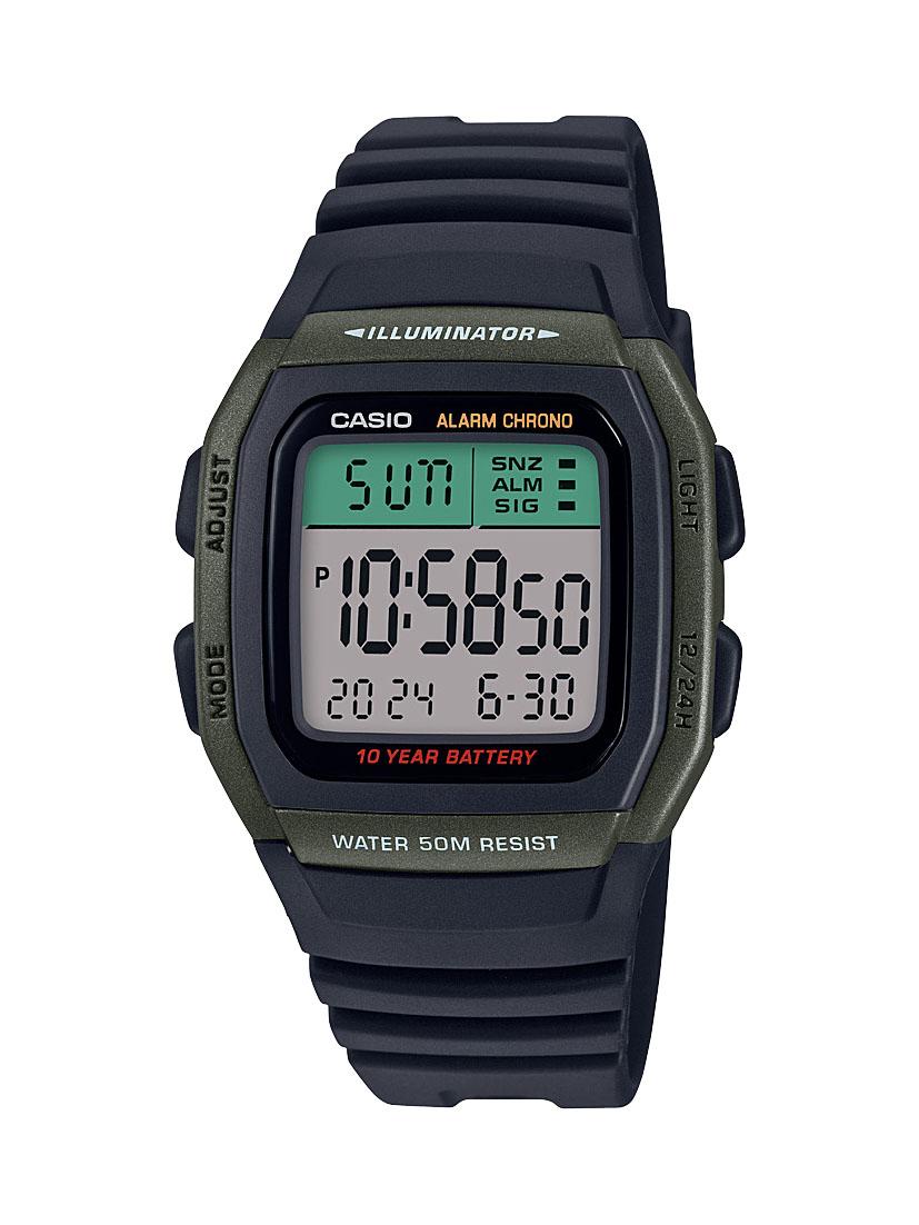 Casio W96H-3A Digital Black Resin Youth Watch