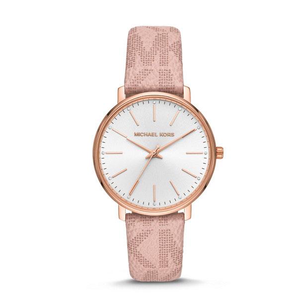 Michael Kors Pyper MK2859 MK Printed White Leather Womens Watch