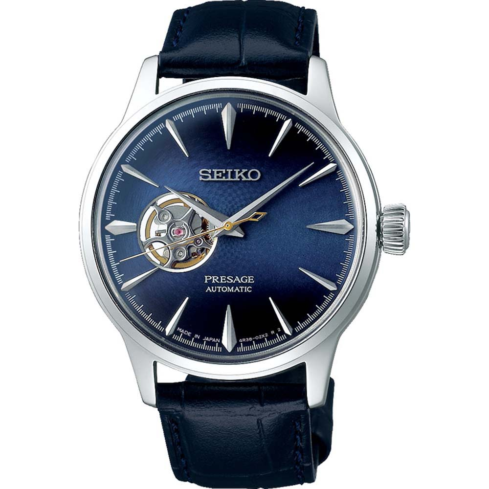 Seiko Presage SSA405J Cocktail Time Automatic Blue Leather Mens Watch