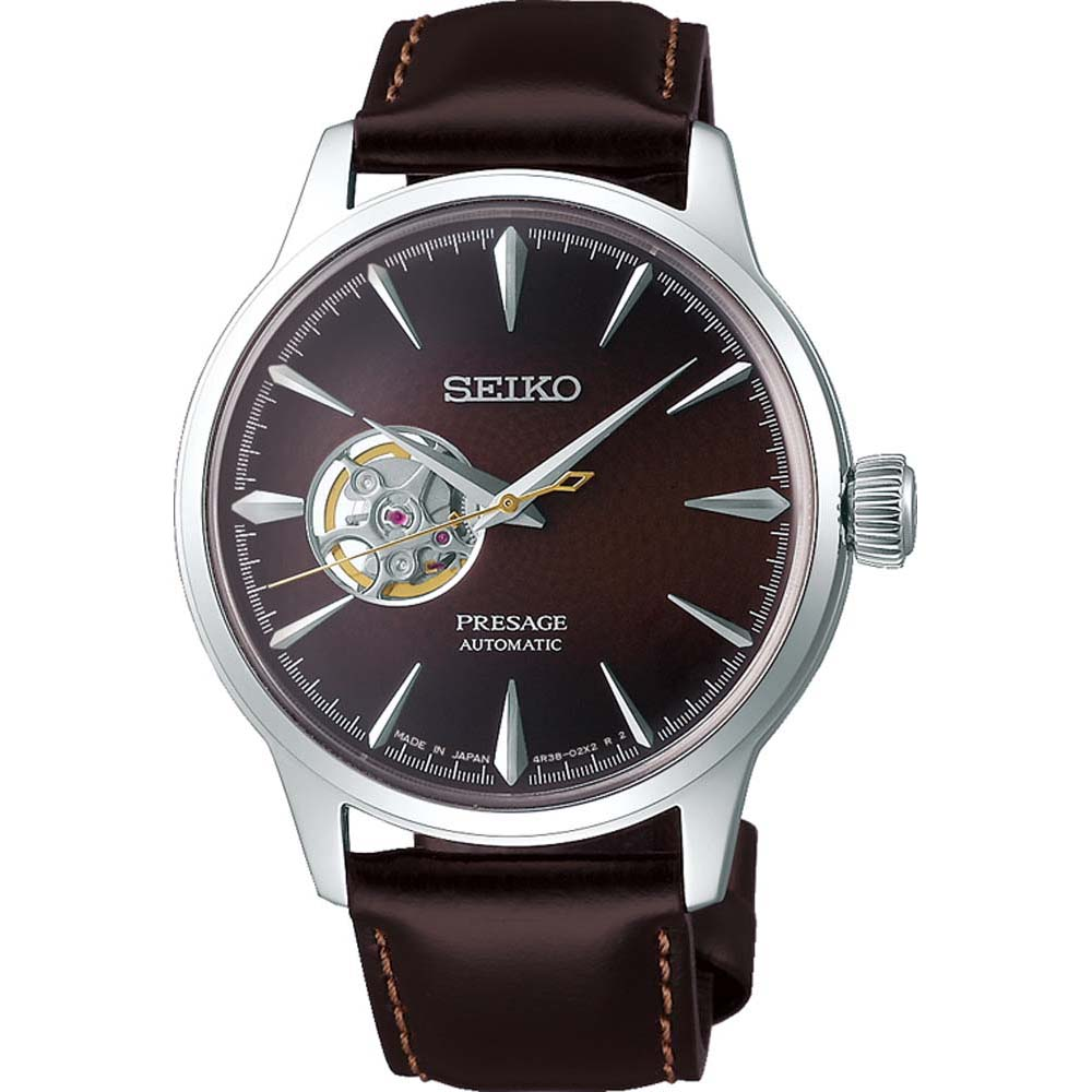 Seiko Presage SSA407J Midnight Cocktail Automatic Brown Leather Mens Watch
