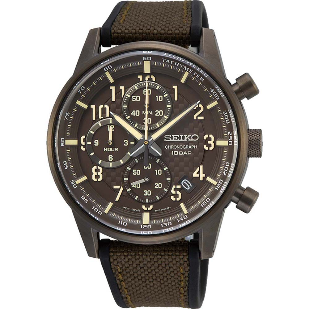 Seiko SSB371P Chronograph Brown Silicone & Leather Mens Watch