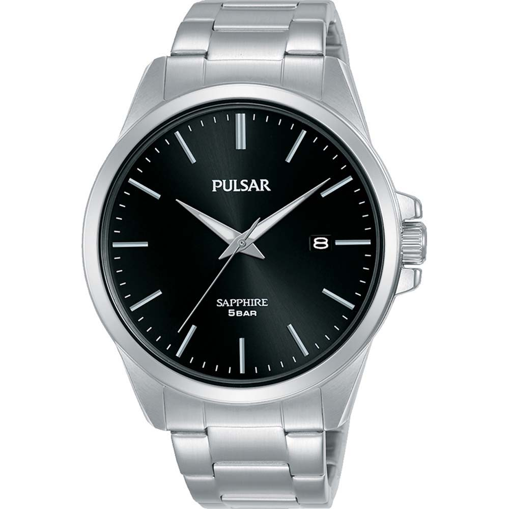 Pulsar Sapphire PS9639X Black Dial Stainless Steel Mens Watch