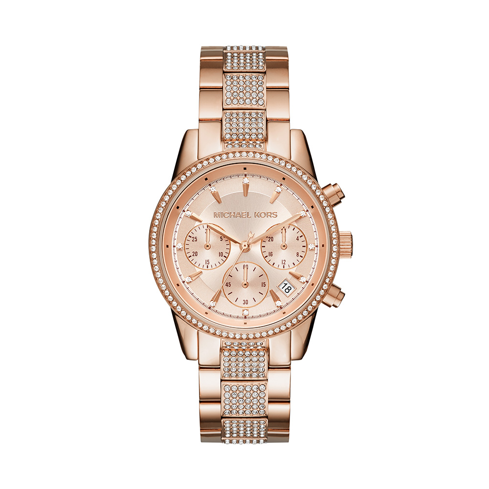 Michael Kors MK6485 Crystal Pave Rosel Gold Tone Womens Watch