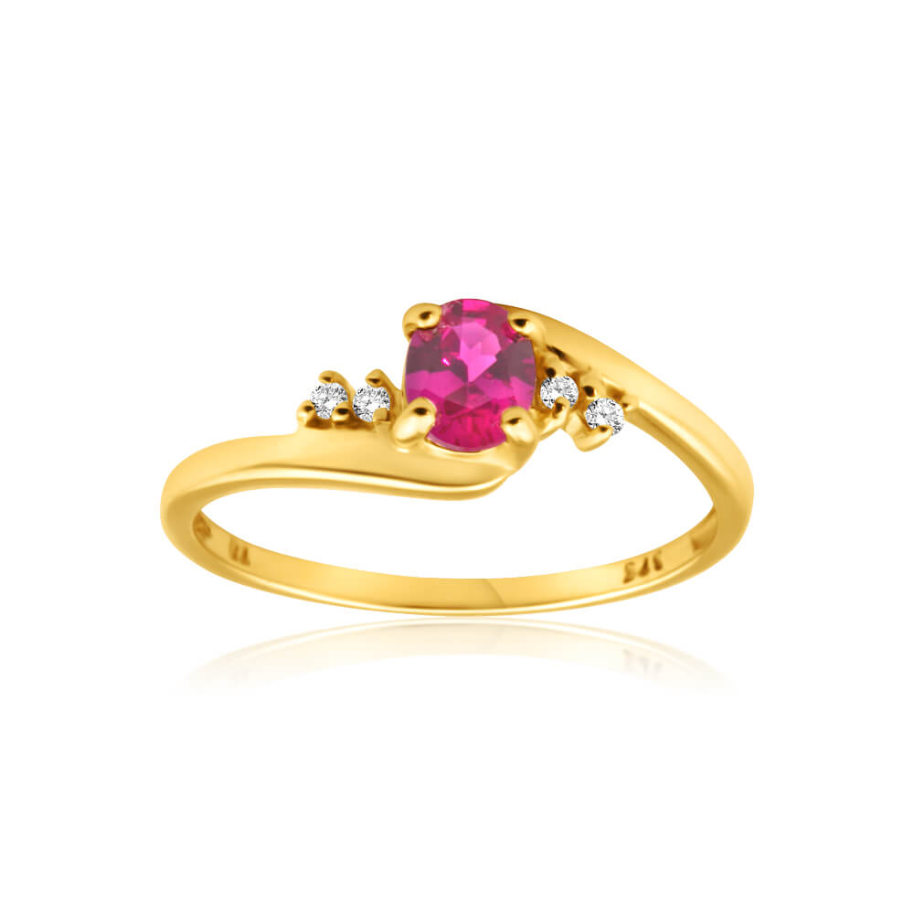9ct Yellow Gold Created Ruby + 4 Cubic Zirconia Ring