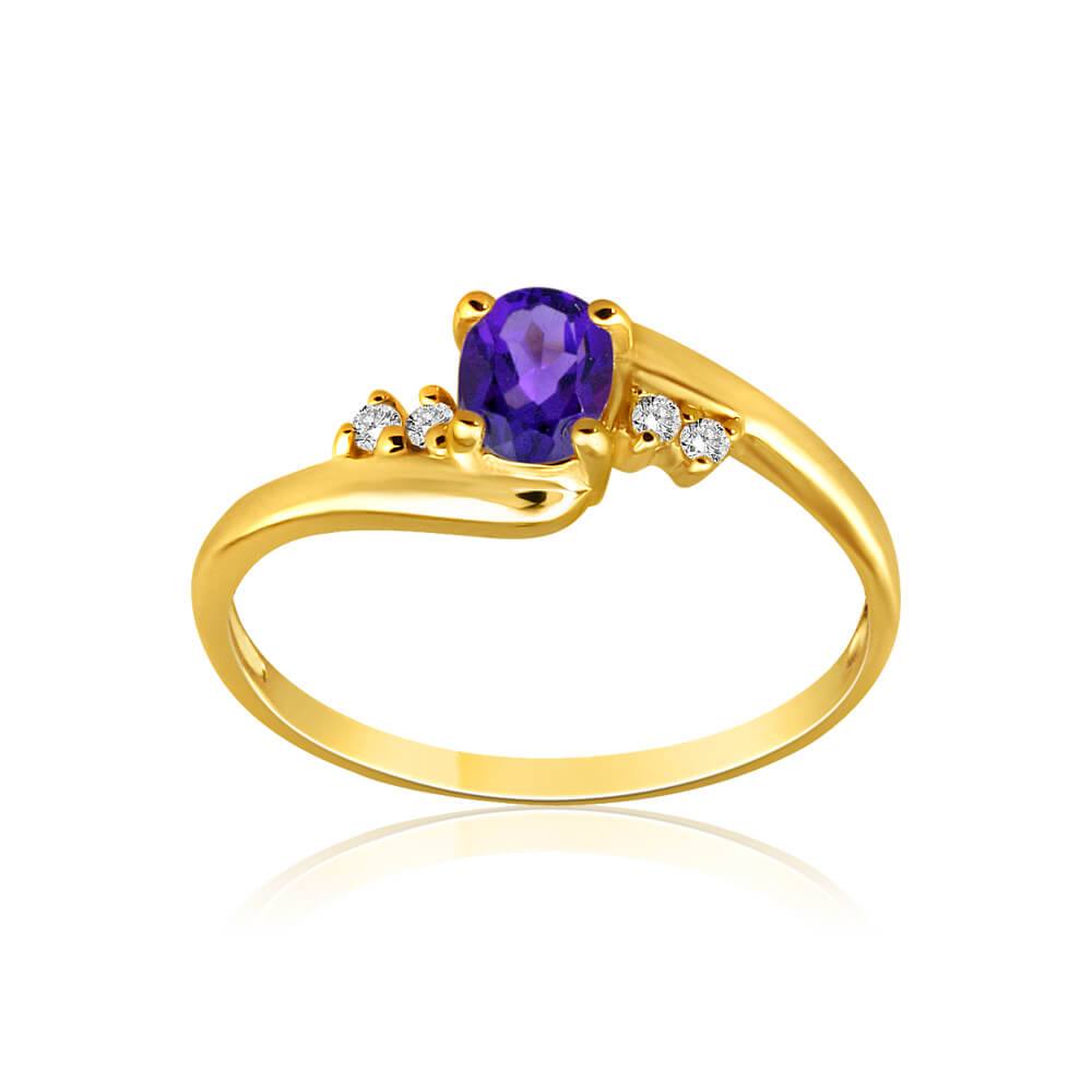 9ct Yellow Gold Amethyst + Cubic Zirconia Swirl Ring
