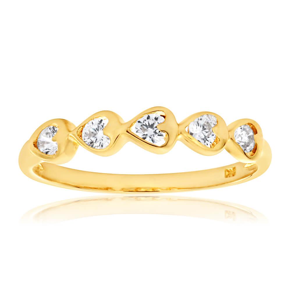9ct Yellow Gold Cubic Zirconia Heart Ring