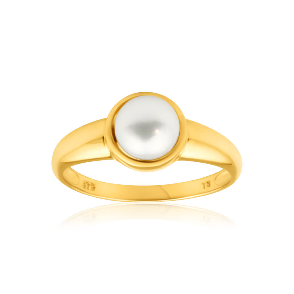 9ct Yellow Gold Cultured Pearl Ring