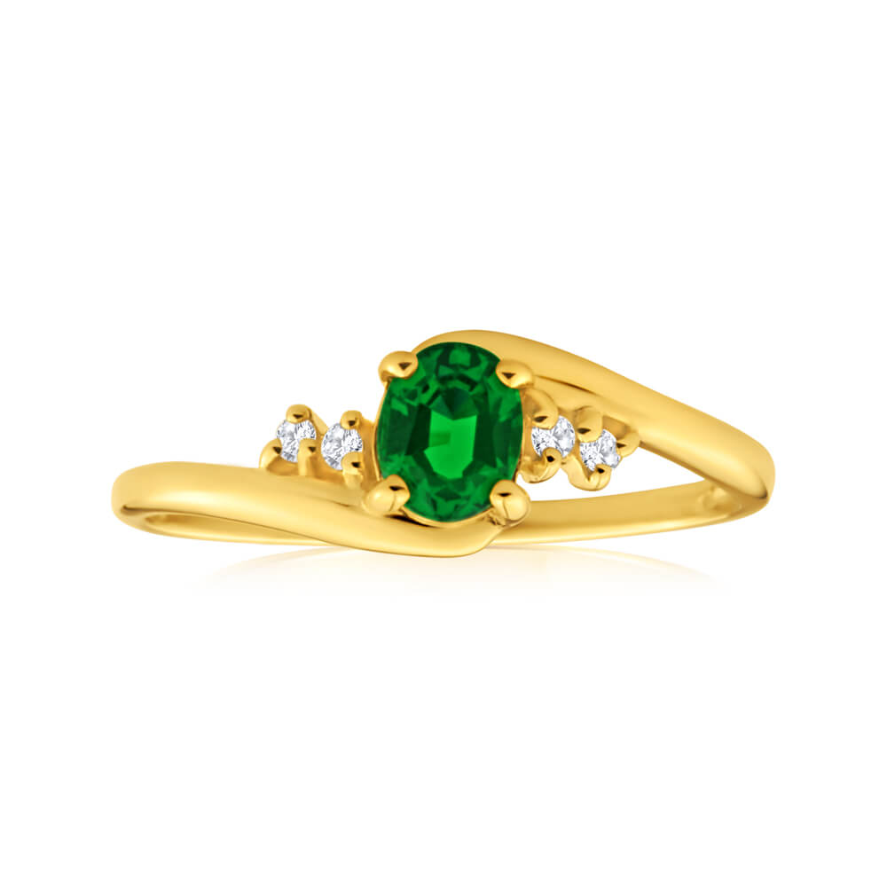 9ct Yellow Gold Created Emerald + Cubic Zirconia Ring