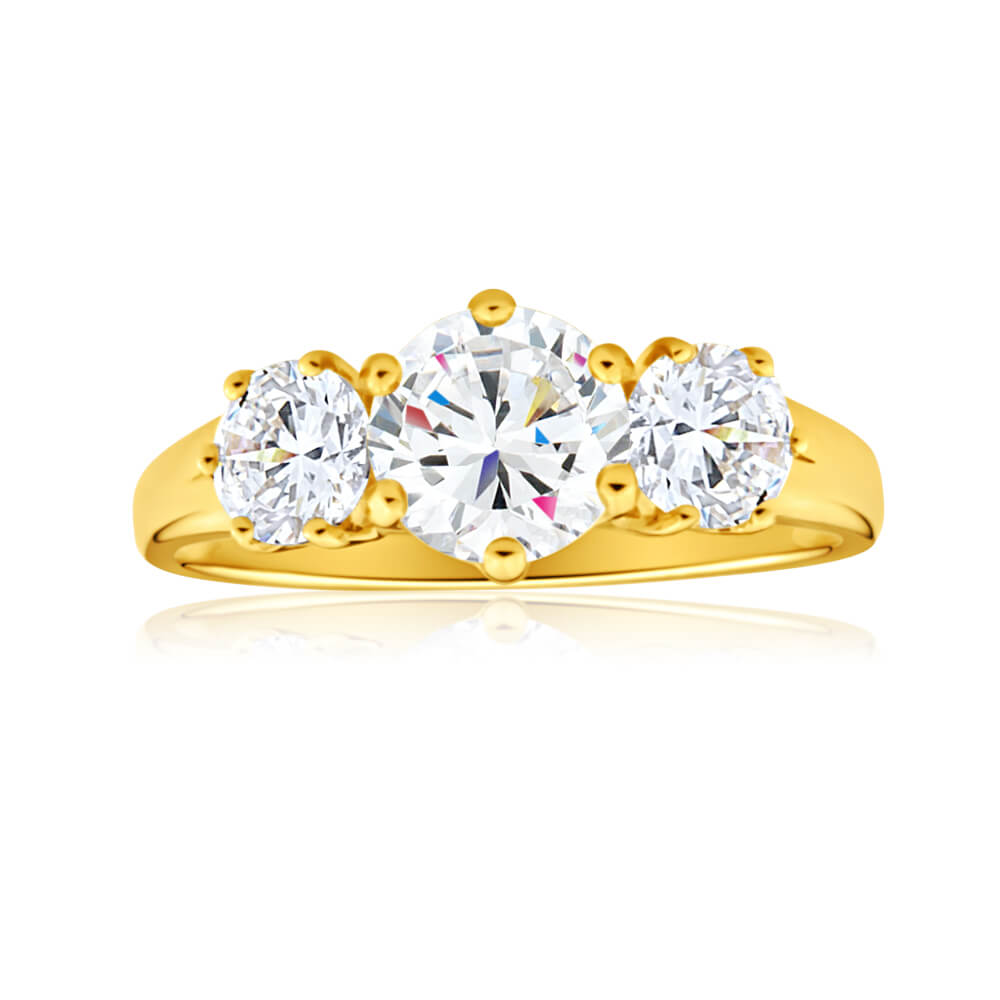 9ct Charming Yellow Gold Cubic Zirconia Trio Ring