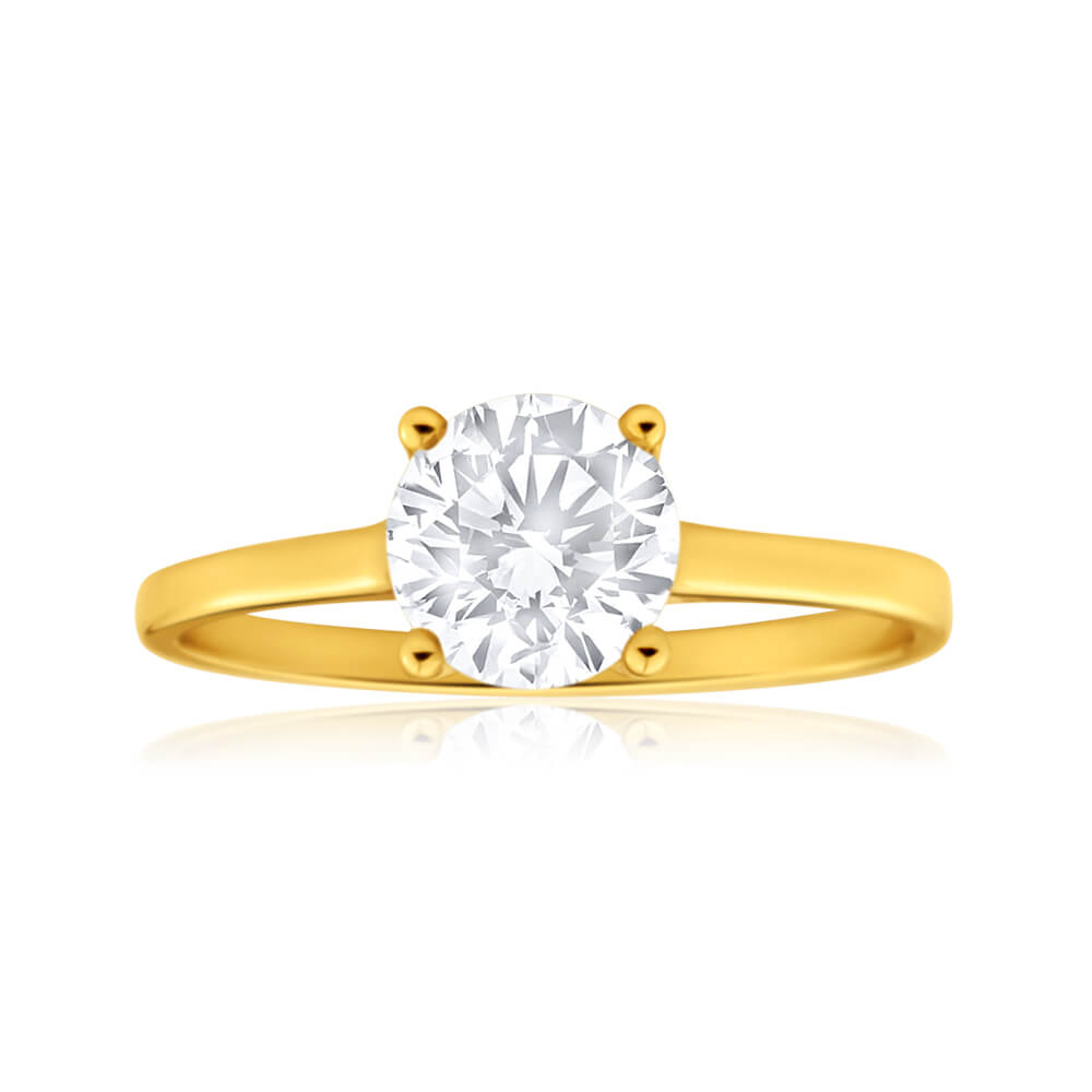 9ct Yellow Gold 6mm Brilliant Cut Cubic Zirconia 4 Claw Ring