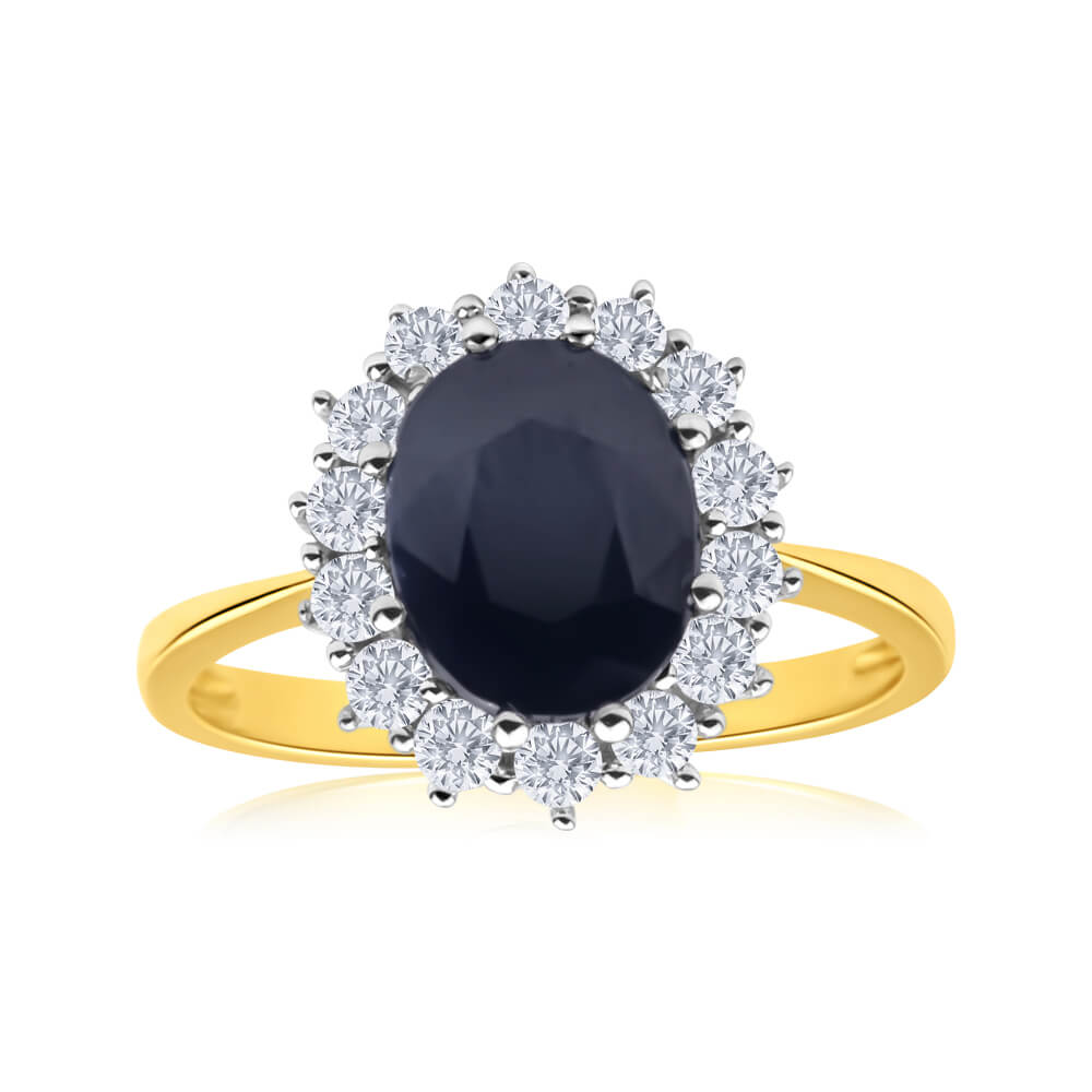 9ct Yellow Gold Natural Sapphire + Zirconia Ring