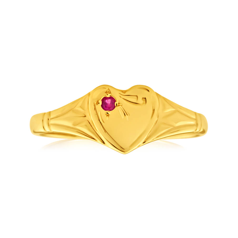 9ct Yellow Gold Ruby Heart Signet Ring Size L