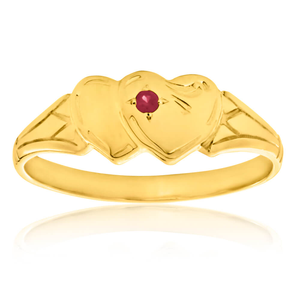 9ct Yellow Gold Ruby 2Heart Signet  Ring Size L