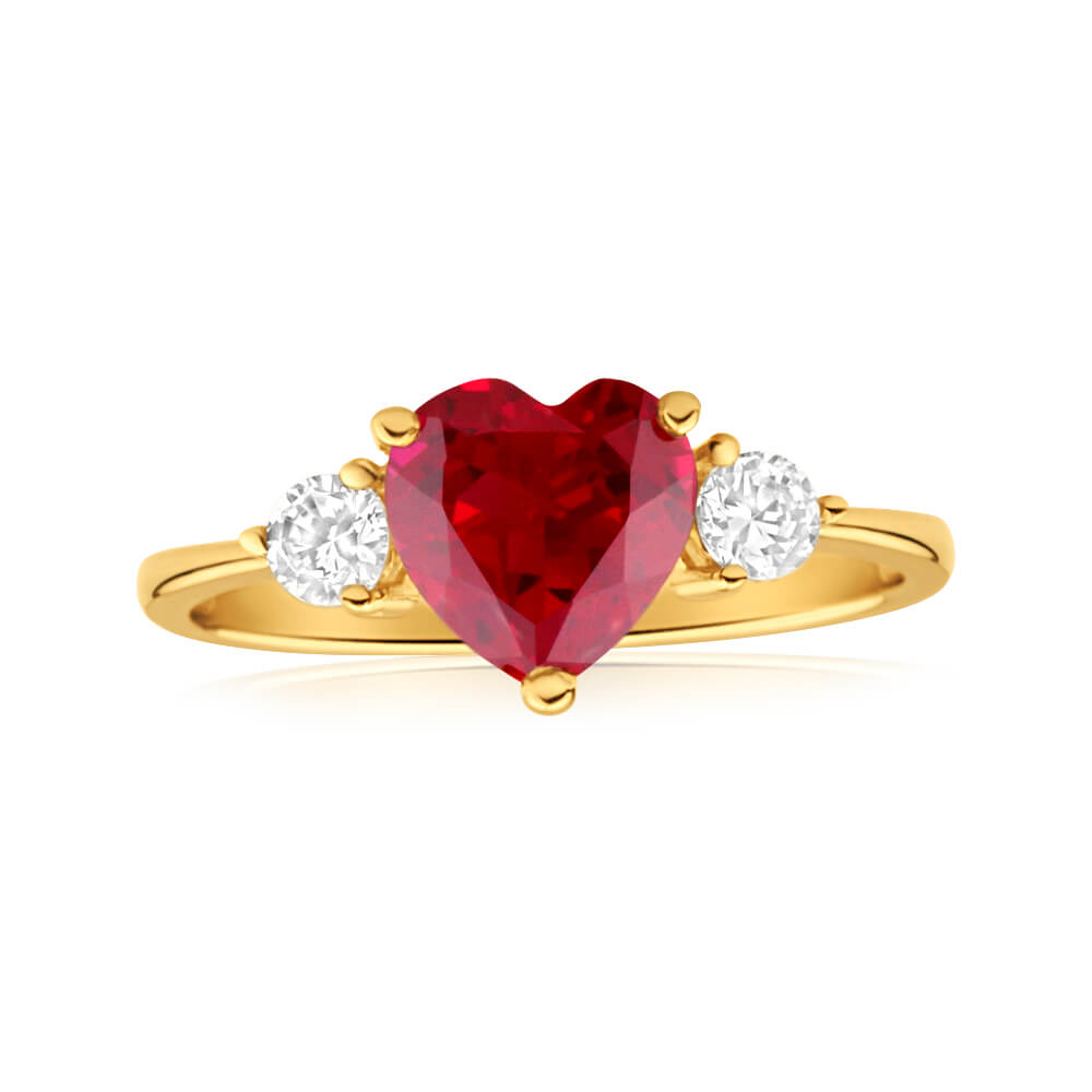 9ct Yellow Gold 'I Love You' Created Ruby and Cubic Zirconia Ring