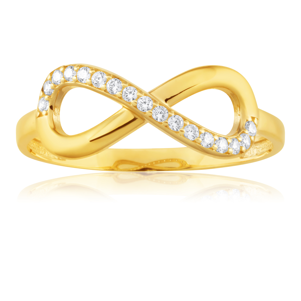 9ct Yellow Gold Cubic Zirconia Infinity Ring