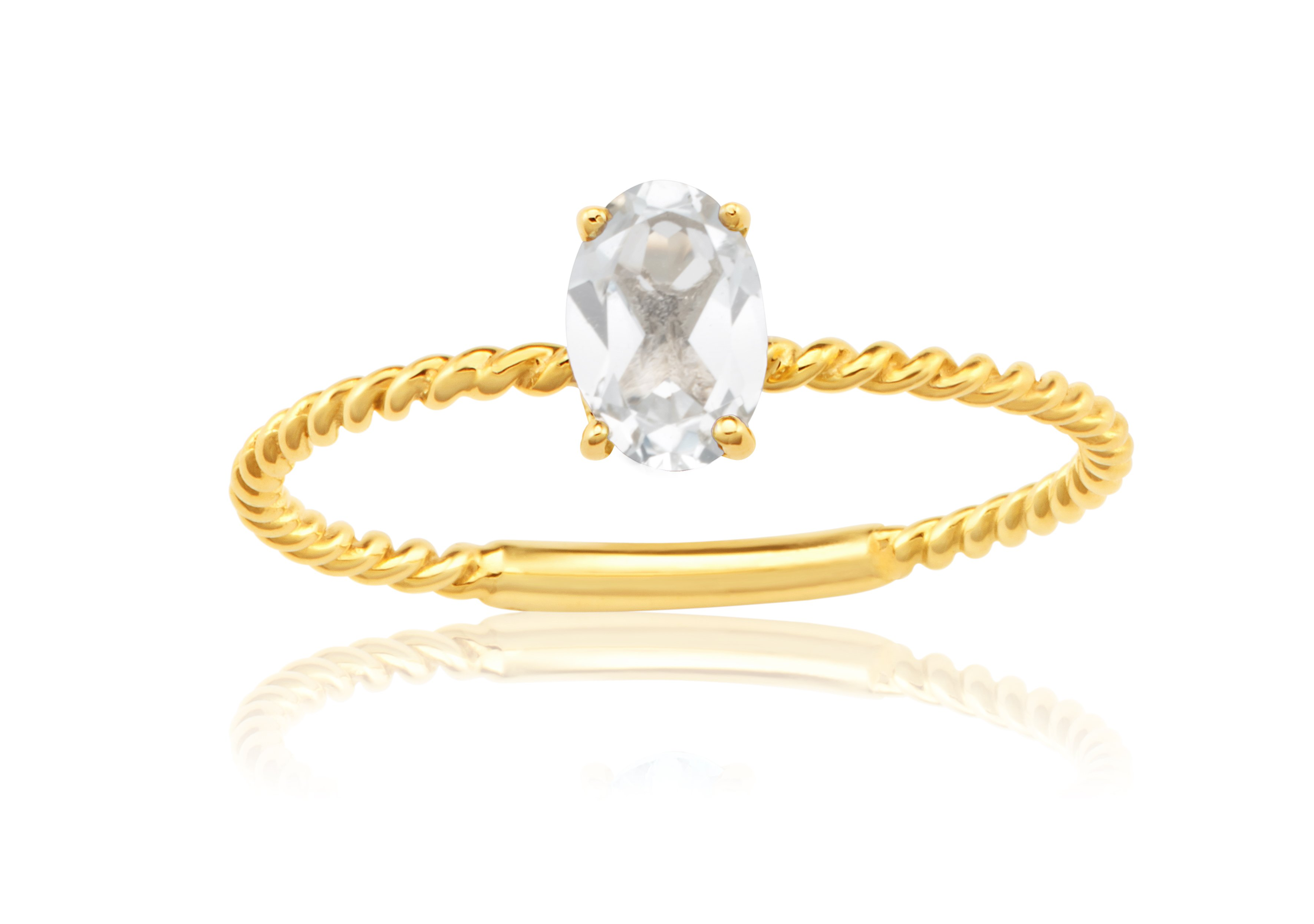 9ct Yellow Gold Natural White Topaz Ring