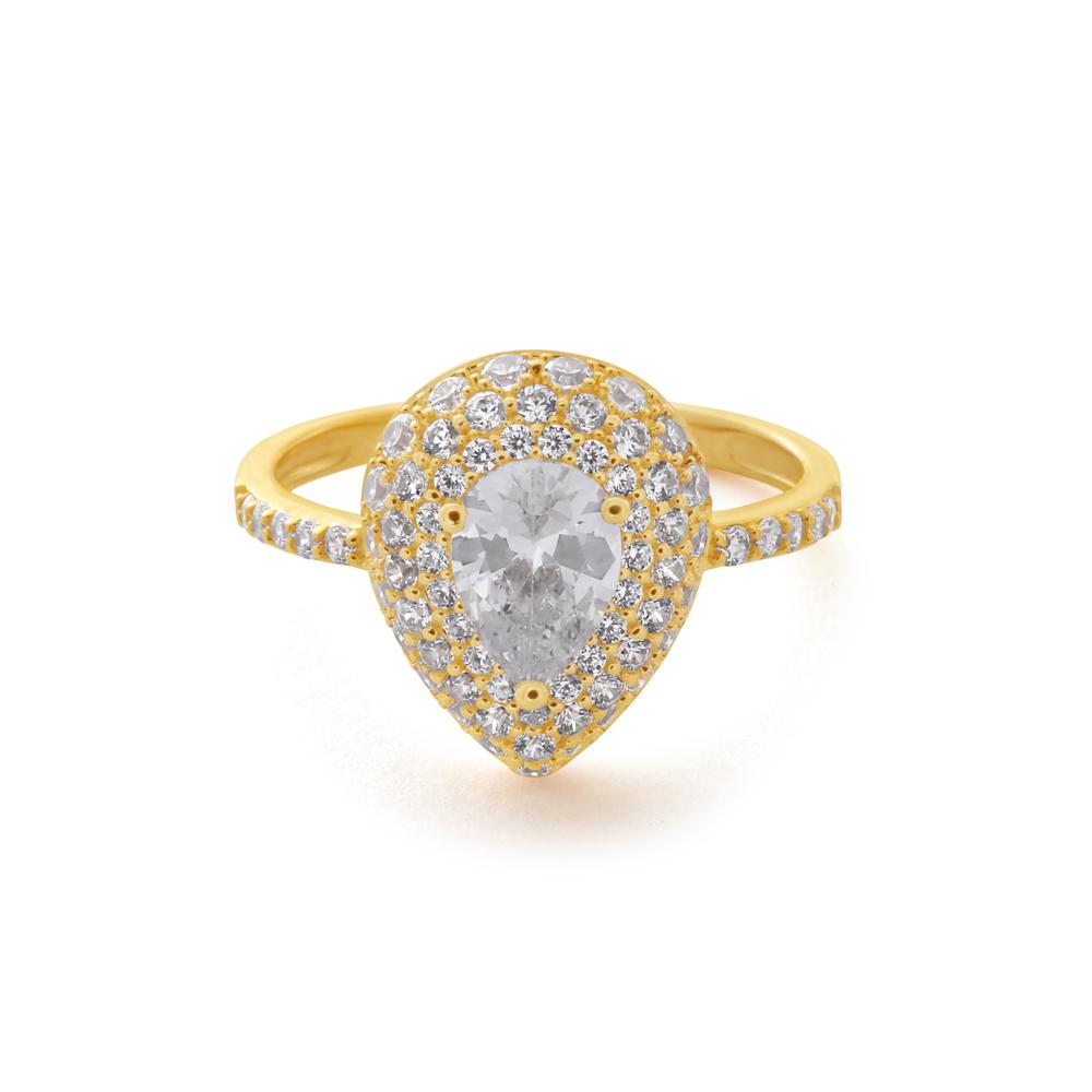 9ct Yellow Gold Zirconia Pear Shape Ring