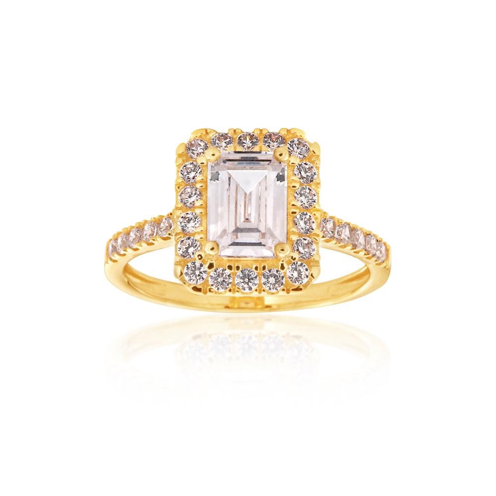 9ct Yellow Gold Zirconia Emerald Cut Ring