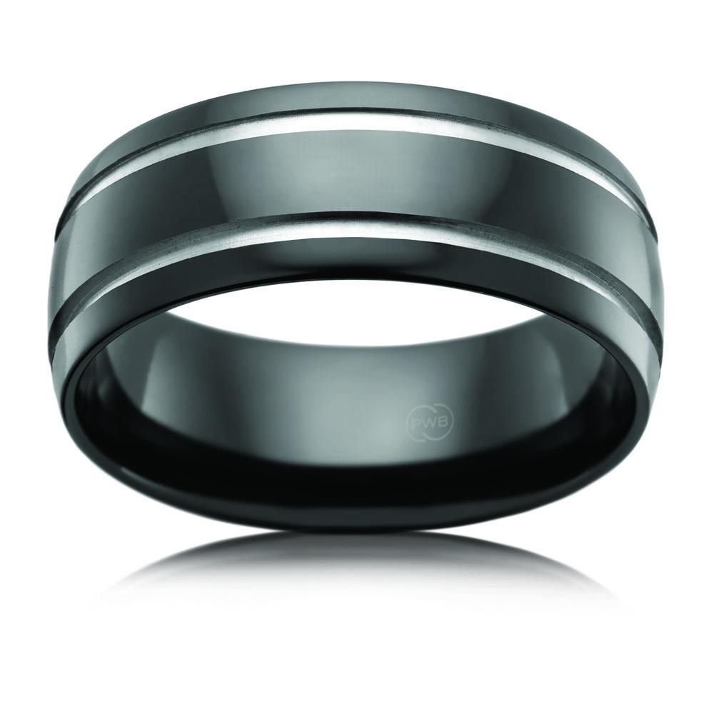Zirconium 8mm Gents Ring 2 Diamond Cut Grooves