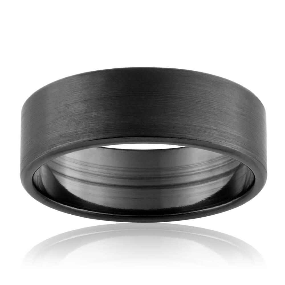 Zirconium 7mm Sanded Gents Ring Size T/U/X
