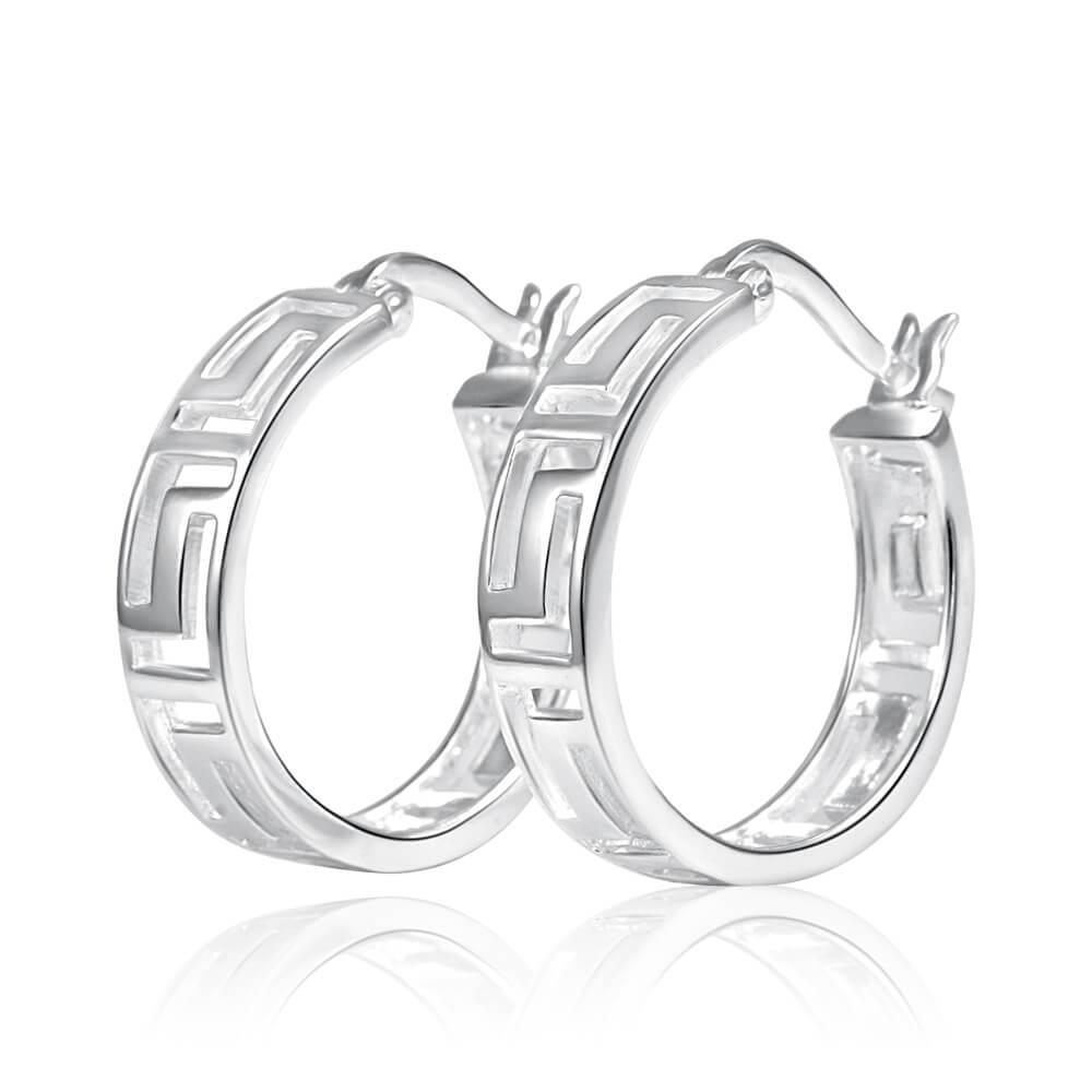 Sterling Silver Hoop Greek Key Earrings