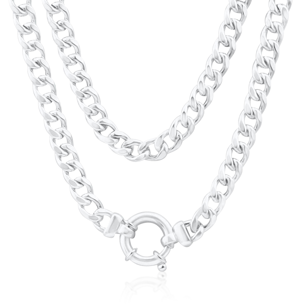 Sterling Silver Hollow Curb Boltring Chain 45cm