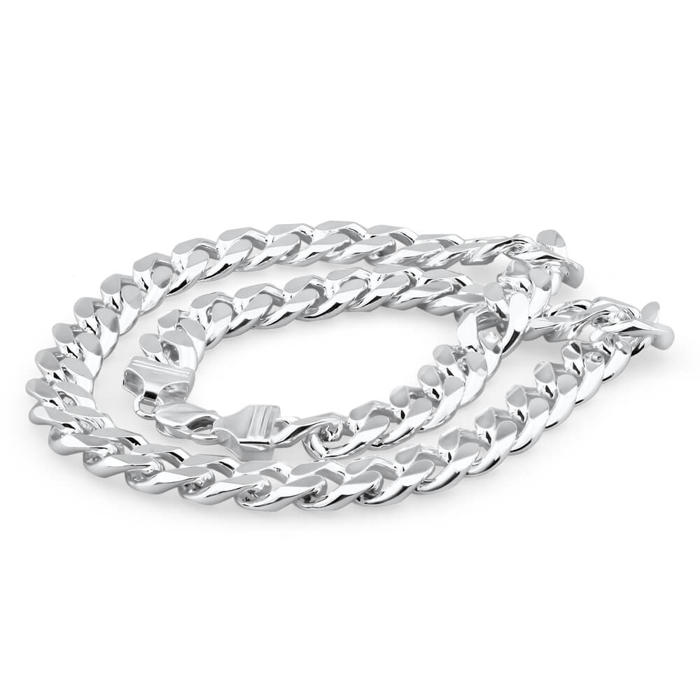 Sterling Silver 350 Gauge Diamond Cut 55cm Curb Chain
