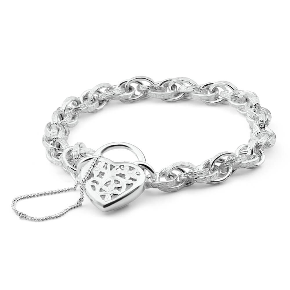 Sterling Silver Fancy Engraved Link Filigree Heart Bracelet