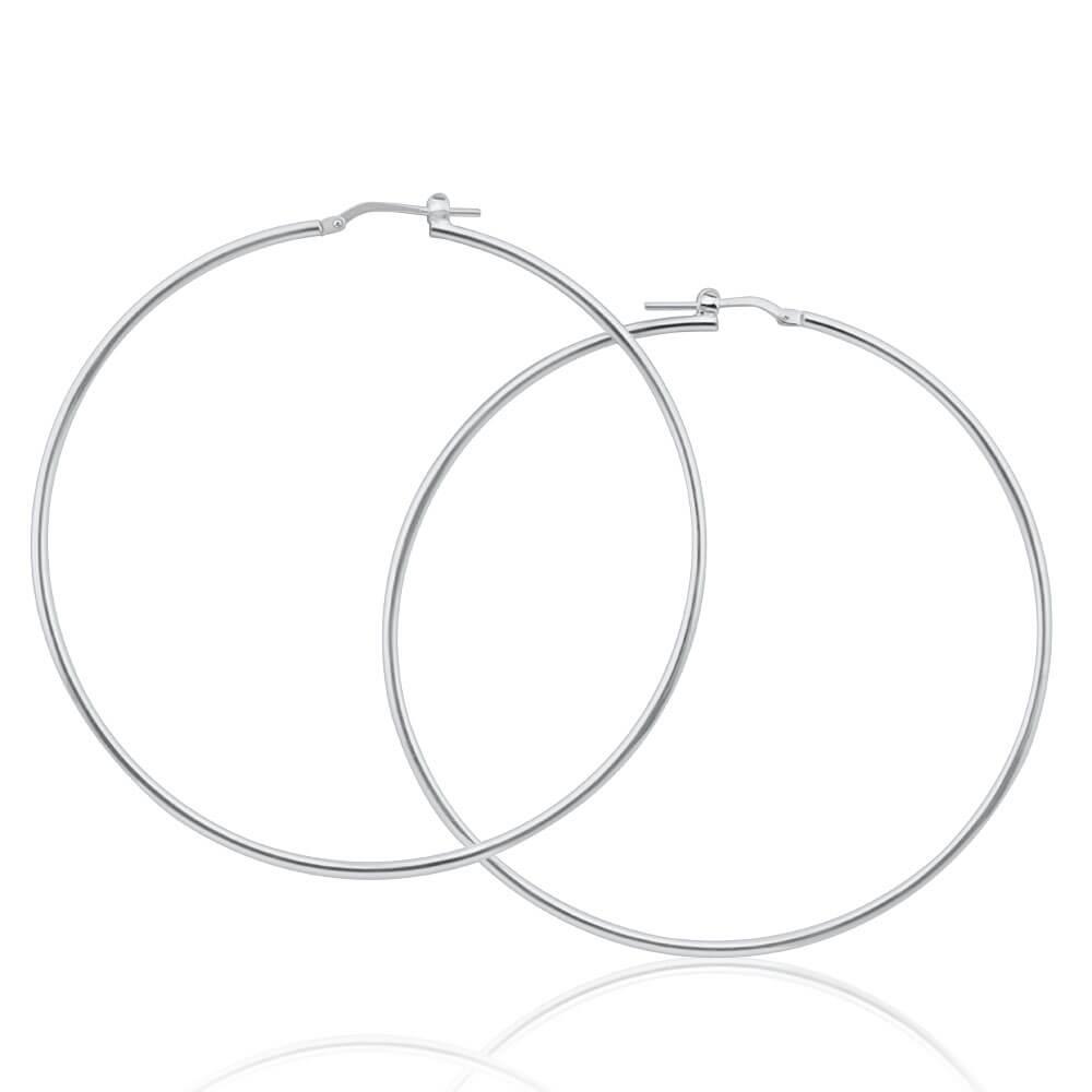 Sterling Silver Plain 65mm Hoop Earrings